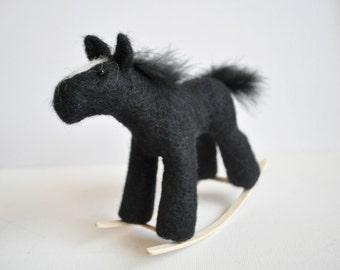 Black Rocking Horse needle felted miniature