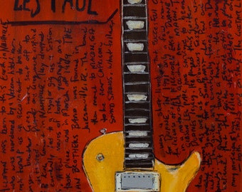 Famous Guitar, Duane Allman Vintage 1957 Gibson Les Paul electric guitar art print. 11x17 Guitar Print.