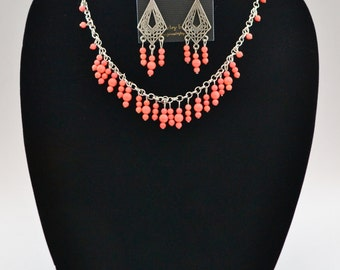 bamboo coral and silver necklace set