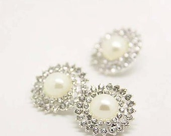 2 pcs 0.83 inch Fashion Silver White pearl Rhinestone Metal Shank Buttons for Mink fur Coats