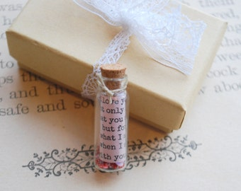 Love Note in a Jar, Love Letter, Anniversary Gift, Bottle Message, Message in a Bottle, Vintage Style Type