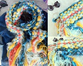 Knit Scarf Hand Knit Multicolor Scarf with Fringes Aqua Teal Yellow Orange