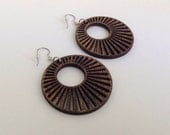Sunburst Hoops ~ Laser-cut Wooden Earrings