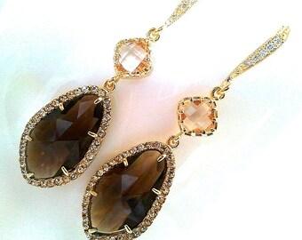Smoky Quartz  wedding Earrings - Drop, Dangle, bridesmaid gifts,Wedding jewelry,christmas gift, mother's day earrings