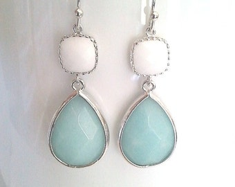 Ice Mint with White Summer earrings, Drop, bridesmaid giftsWedding jewelry, Dangle, Statement Earrings, Mother's day gift