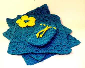 Crochet bath set washcloths hand towel and soap saver 100% cotton handmade four piece set Bright blue