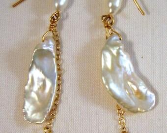 Long pearl & gold earrings