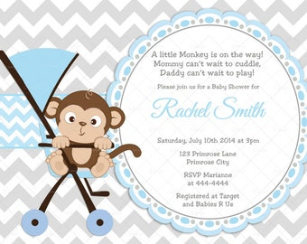 Blue and Grey Chevron Little Monkey Boy Baby Shower Invitation and FREE Thank You Card Printable DIY