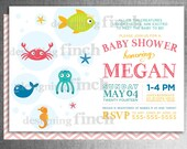 Under the Sea Baby Shower Invitation for Girls or Boys, Printable, Customizable #114