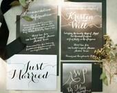 Modern Calligraphy Watercolor Ombre Wedding Invitation