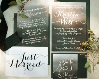 Modern Calligraphy Watercolor Ombre Wedding Invitation