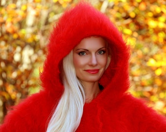 Thick and and fuzzy hand knit mohair sweater with hoodie in bright red by SuperTanya