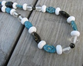 JEWELRY SALE- Bold, Statement Necklace- Chunky Beaded Necklace- Black, Clear, White, Blue- only 1 available