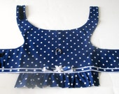 Ruffled Harness for Small Dogs - Navy Blue Cotton with White Polka Dots and Grosgrain Ribbon & Flower Trim Custom for Pom and Yorkie Size