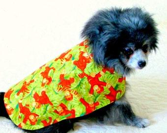 Dog Shirt, Dog Clothes, Small Dog Shirt, Dog Coat, Custom to Fit, Monkey Print, Chihuahua Short, Chihuahua Coat, Pomeranian Clothes