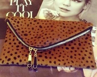 Special Edition-Asymmetrical Leopard fold over clutch,  Asymmetrical Clutch
