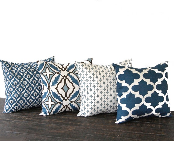 Throw Pillow Covers Set Of 4 : Throw pillow covers 18 x 18 Set Of Four blue by ThePillowPeople