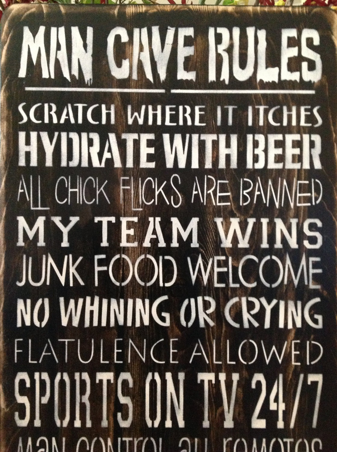 Man Cave Rules Wood Primitive Sign Game Room Garage Signs