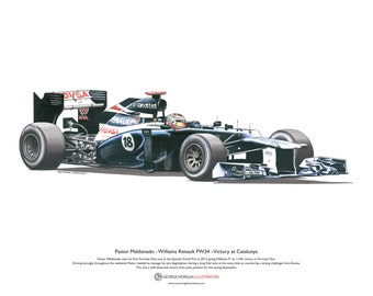 Formula 1 Art Poster Pastor Maldonado - Williams FW34 Illustration A3 size