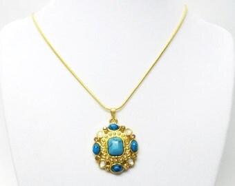 Gold w/Turquoise Stones Pendant Necklace