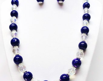 Purple w/Pink Splatter Glass Bead Necklace & Earrings Set