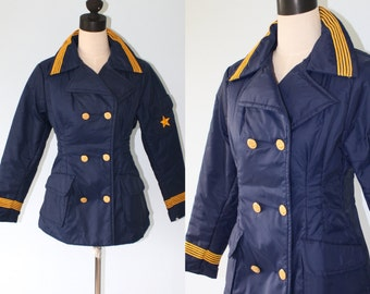 1970s Navy Blue SAILOR Military Style ASPEN Double Breasted Skiwear Jacket . Vintage Nautical Ski Coat . Gold Anchor Buttons . Sz Medium