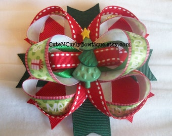 Christmas Hair bow Girls Christmas Tree Bows Red White Green Baby Bows Hair bows for Girls Hair Accessories Baby Hair Clip Boutique Bows