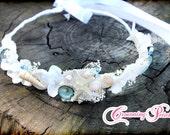 White Flower Crown, Sea Shell Crown, Ivory Flowers, Beach Wedding, Bridal Tiara, Starfish, Flower Girl, Mermaid Hair Accessory, Flower Halo
