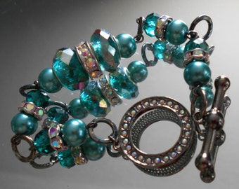 Teal, Gun Metal and Aurora Rhinestones with Toggle Clasp