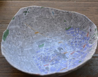 Paper Mache Bowl of Milan, Italy Map, Europe Map