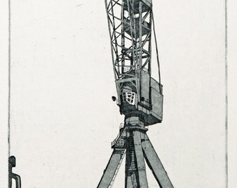 Blue Crane Etching - Original Print by William White - Industrial Print of Belfast Cranes - FREE SHIPPING