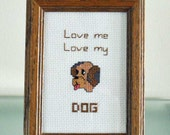 Dog Cross Stitch Finished Framed