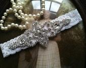SALE-Wedding Garter - White Lace Garter - Ivory Rhinestone Garter - Applique Garter - Vintage - Bridal Garter - Vintage Garter - Toss Garter