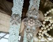 Wedding Garter - Garters - Bridal Garter-Mint garter-Keepsake-Toss-Ivory Lace Garter Set-something blue-Cream Vintage Garter - Bridal Garter