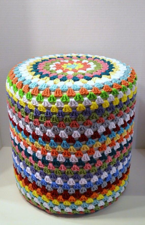 Crochet Ottoman : Crochet Footstool Pouf Hassock Ottoman Granny Square Multicolor ...