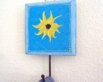 Hand-Painted Sunflower Wall Hook - Colorful Boho Decor - Functional Art - Bohemian Decoration - Decorative Wall Hanger - Dorm Jewelry Hook