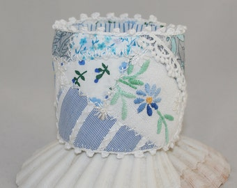 Blue and White Embroidered Patchwork Cuff - Combining vintage linens with lace and printed cottons