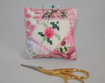 Pink Cross Stitch Pincushion - upcycled and embroidered vintage linen and vintage fabric patchwork