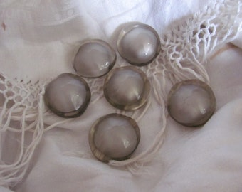 Set of 6 Large Clear Plastic Coat Buttons Shank
