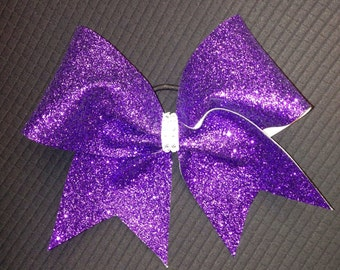 Purple glitter Cheer Bow with jewel center
