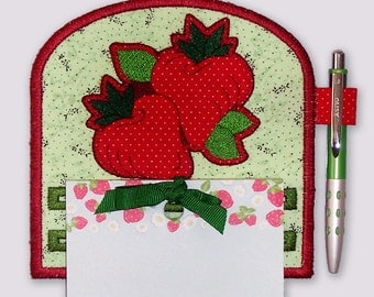 Strawberry Applique Design Embroidered Notepad Holder