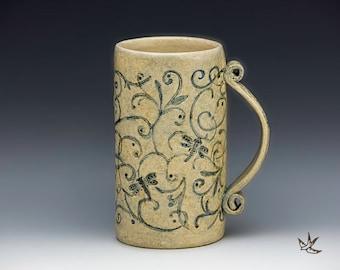 Dragonflies in the Garden Mug for Coffee Lover, Gardener, Naturalist, Bird Watcher, Iced Tea Beer Stein