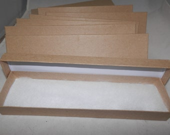 """100 Kraft 8""""x2""""x1"""" Cotton Filled, Presentation Jewelry Boxes, Necklace Display Boxes"""