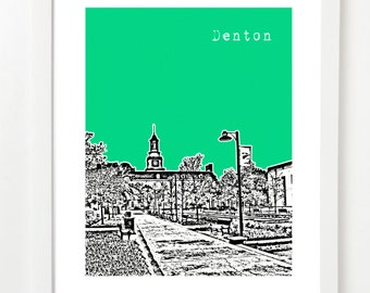 Denton Texas Art Print - Denton Poster - City Skyline Series - Denton Gift - VERSION 1
