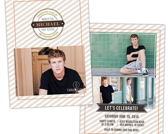Senior Graduation Announcement Photo Card Template for Photographers - Photoshop Templates for Photographers - Photo Card Template - GD127