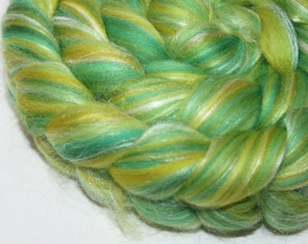 Blended Roving / Top | Merino / Silk | Lemon Lime | 100g