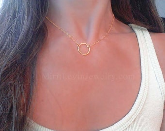 Delicate circle necklace, Karma Circle Necklace, 14K Gold filled or Sterling Silver Karma circle Jewelry