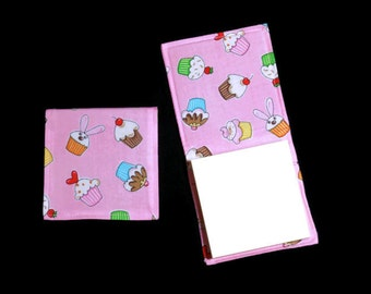 Cupcake Sticky Notepad Holder, Refillable Fabric Cover