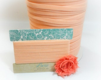 Ultra Soft VELVET Elastic for Baby Headbands - 3/8 Inch Wide - PEACH -2 Yards - Stretch Velvet Trim for Crafts