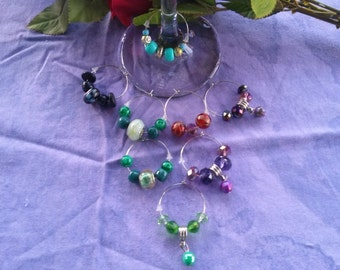 Wine Charms, Mixed set of eight in Murano glass, crystal